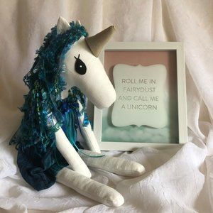 Unicorn Doll - Lovey - Stuffy -  Hand Crafted NWOT